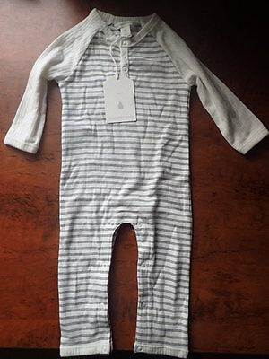 Country Road Baby onsie jumpsuit unisex 00 3-6months white cream grey stripes