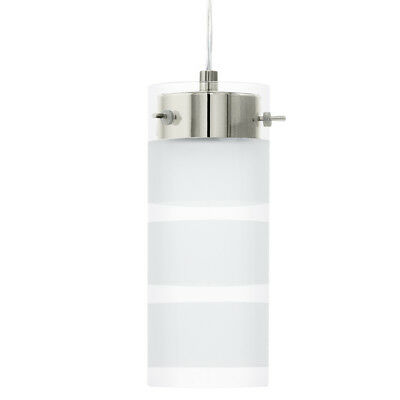 NEW Eglo Olvero Satin Nickel & Clear/Frosted Glass LED Pendant Light - 93541