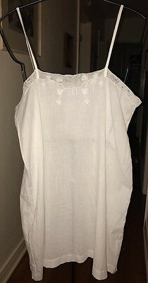Antique Vintage Victorian Ladies White Cotton Chemise Slip with Embroidery