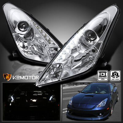 For 00-05 Toyota Celica Chrome LED DRL Projector Headlights Replacement L+R