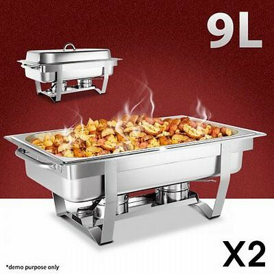 NEW 2x 9L Stackable Stainless Steel Bain Marie Catering Kitchen Chafing Dishes