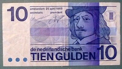 Netherlands 10 Gulden Note , P 91 , Issued 25.04. 1968