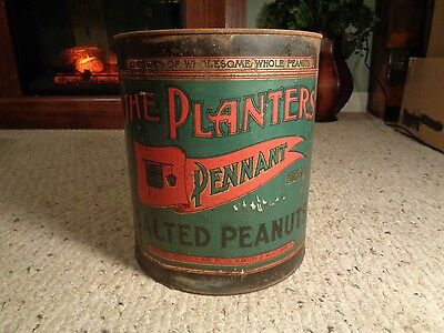Vintage The Planters Pennant Salted Peanuts 10lb Tin Lithograph Can w/ Lid