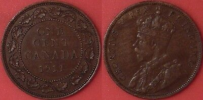 Very Fine 1911 Canada Large 1 Cent