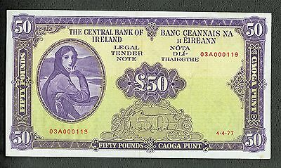 IRELAND 1977 50 POUNDS LADY LAVERY P-68c GRADE XF VERY LOW SERIAL NUMBER