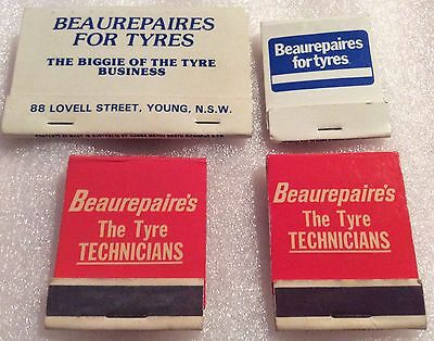 Beaurepaires Tyres Match Collection. 4 Matchbooks.