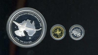2001 Australian Tri-Metal Proof Set 1/20 oz Gold, 1 oz Silver, 1/20 oz Platinum