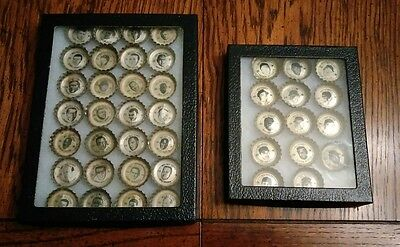 42 Coca-Cola Bottle Caps NFL & AFL All Stars 1960s in separate display cases.