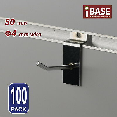 100 x SLAT WALL HOOK SLATWALL PANEL GROOVED DISPLAY BOARD CHROME STEEL 50MM 4MM
