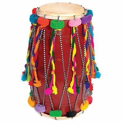 BRS Large Double Ended Decorated Bhangra Dhol Traditional Indian Drum
