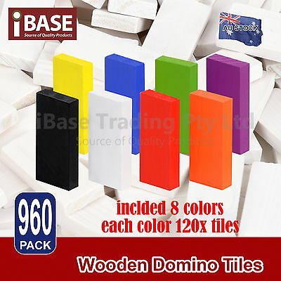 960Pcs Wooden Domino Tiles Tumbling Dominoes Knock M Down Kids Colored Toy Free