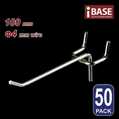50 x PEGBOARD HOOK CHROME PANEL VALCANO BOARD 100MM 4MM FREE