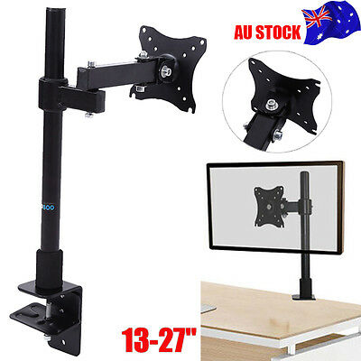 "13-27"" Adjustable Single Screen LCD Monitor Tilt Desk Stand Mount Bracket VESA"