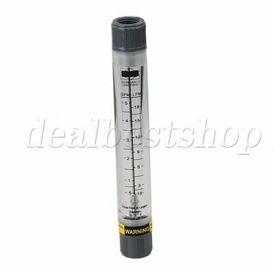 "1/2"" Female Thread 0.5-5 GPM 1.8-18 LPM Water Liquid Flowmeter Grey+ Clear"