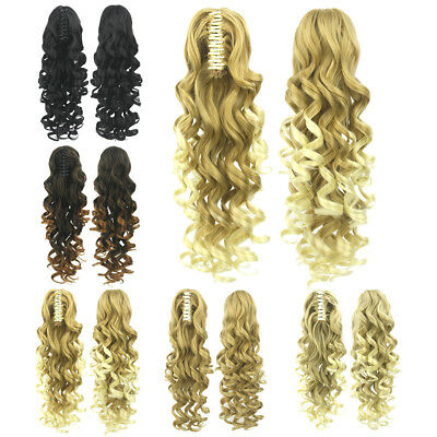24 Inch Thick Claw Pony Tail Ponytail Clip In On Hair Extension Wavy Curly Style