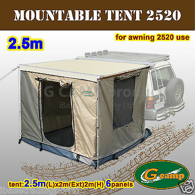 G Camp Mountable 2.5M Awning Roof Top Tent Camper Trailer 4Wd 4X4 Car Rack Free