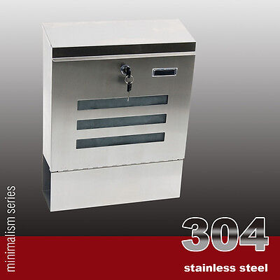 Wall Mount Stainless Steel 304 Mailbox Letterbox Post Letter Mail Box S/s Free
