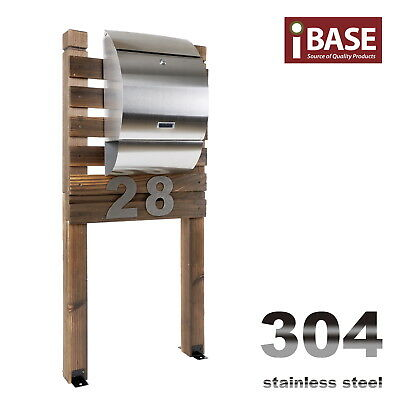 Wooden Stand Stainless Steel Townhouse Mailbox Letterbox Letter Mail Box Free