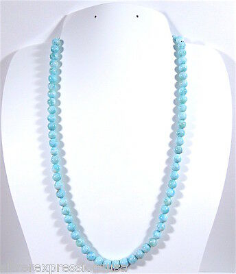 "Natural AAA Dominican Larimar 6mm Round Smooth Beads Strand 15-3/4"" Long"