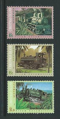 1994 CHRISTMAS ISLAND Steam Locomotives Set MNH (SG 389-391)