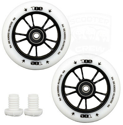 Envy One 100mm White Scooter Wheels with Bearings and Bar Ends