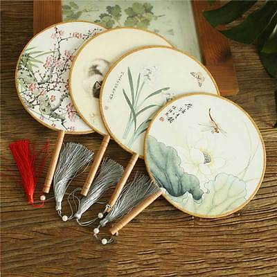 Chinese Palace Art Retro Round Craft Gift Ladies Classical Dance Fan Hanfu