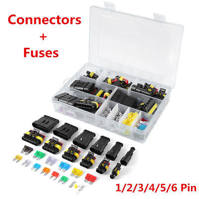 New Car Waterproof Electrical Connector Terminal 1/2/3/4/5/6 Pin Way+Fuses W/Box