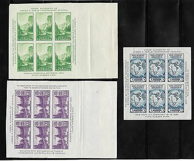 1934 United States Stamps 3 Souvenir Sheets