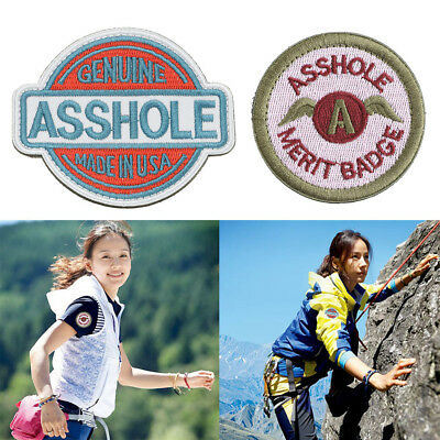 """""""Asshole Merit Badge """" Embroidered Sew On Patches Fabric Badges Hook & loop"""