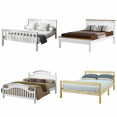 White Wooden 4FT6 Double Bed Frame Bedstead Pine Sturdy Bed with Mattress Option