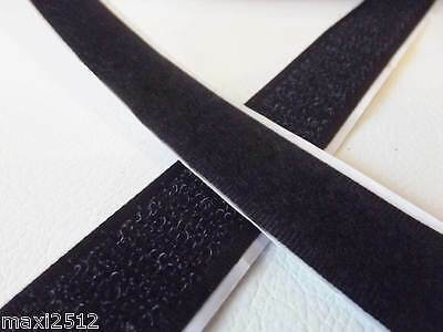 Set of 25m of hook and 25m of loop tape - 20mm wide: SELF ADHESIVE BLACK