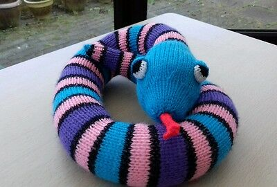 Hand Knitted Multi Coloured Snake Soft Toy / Draught Excluder