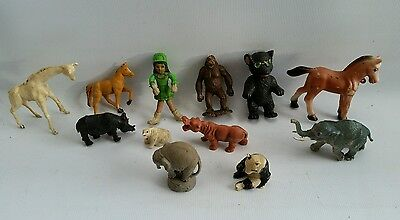 Bulk Lot of Vintage Assorted Plastic Toy Figures Animals Made GB Hong Kong