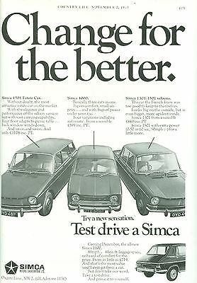 1967 Simca Car Range B/w Magazine Advert