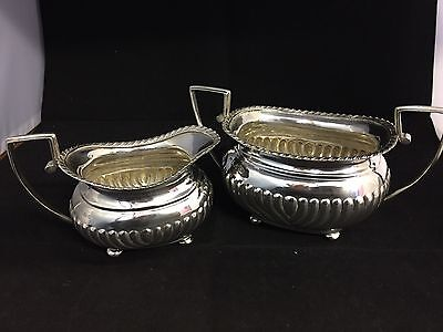 Lovely Antique  Sterling Silver Sugar Bowl And Creamer,1895,Chester,426g