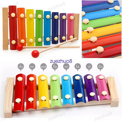 UK 8 Notes Wooden Kids Metal Xylophone Glockenspiel Musical Instrument Toy Music