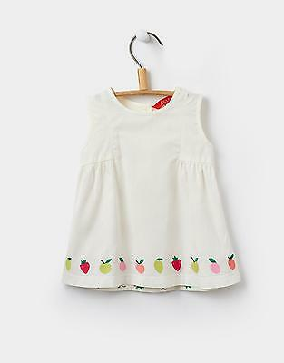 Joules Baby Girls' Suri Woven Top with Novelty Fruity Embroidery in Cream