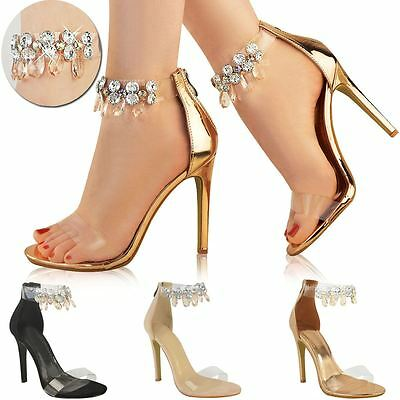 Womens Ladies Barely There Rose Gold High Heels Gem Ankle Strap Sandals Shoes