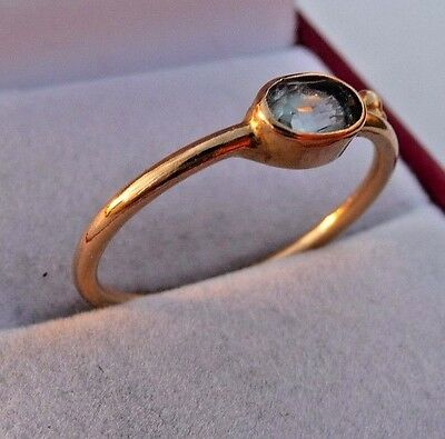 Amazing Vintage 750,18k Solid Yellow Gold Ring With Aquamarine Size 8