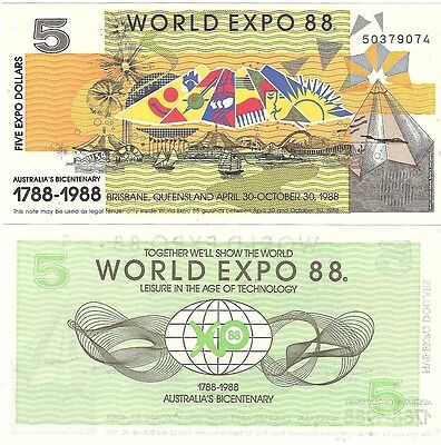 Australia World Expo 5 Dollars 1988 Brisbane UNC Uncirculated Banknote