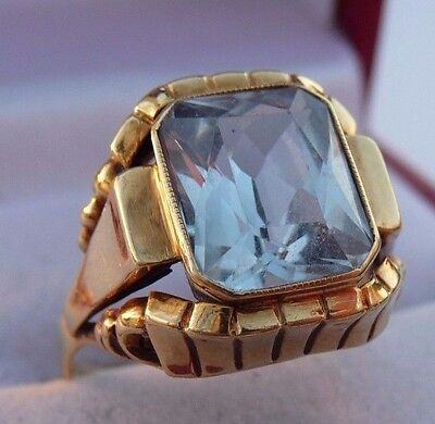 Amazing Vintage 585,14k Solid Yellow Gold Ring With Aquamarine Size 6