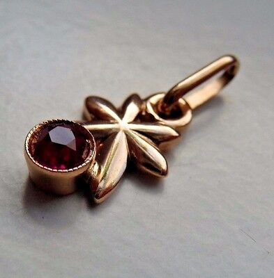 Vintage Soviet Russian 583,14k Solid Gold Pendant With  Ruby