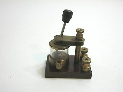 Antique Early Brass And Glass Tube Crystal Radio Detector On Base