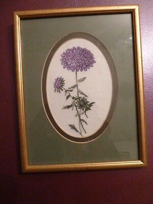 """Handmade Cross Stitch Completed Finished/Mounted Framed Purple Flowers,7"""" X 9"""""""