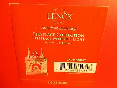 """Lenox Fireplace Collection Fireplace With LED Light 9.5"""" New in Box 826987"""