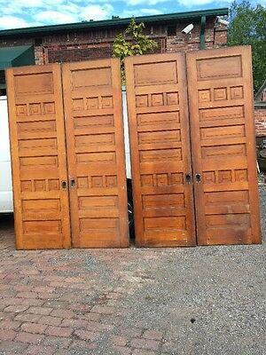 Hr 444 To Match Pair Antique Quartersawn Oak Raise Panel Pocket Doors 60 X84