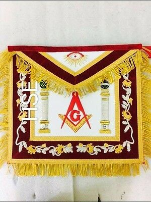 Hand Embroidery Masonic Past Master Apron  Red Velvet