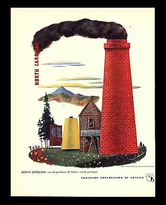 "Original 1949 ""container Corp"" North Carolina Art Print Ad By Herbert Mcclure"
