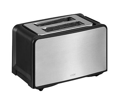 LOGIK L02TBS13 2-Slice Toaster High-lift eject Extra-wide slots Stainless Steel