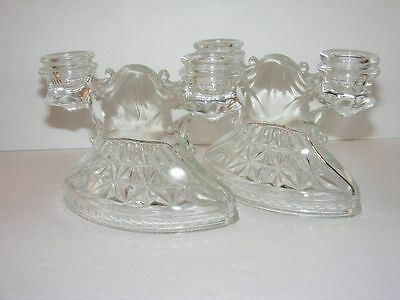 2 Candle Holders LE SMITH Glass Clear Mt. Pleasant Double Shield Prescut c1